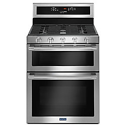 Maytag 6.0 cu. ft. Double Oven Gas Range with Self-Cleaning Convection Oven in Fingerprint Resistant Stainless Steel