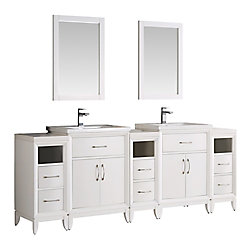 Fresca Cambridge 84 in. Vanity in White with Porcelain Vanity Tops in White and Mirrors