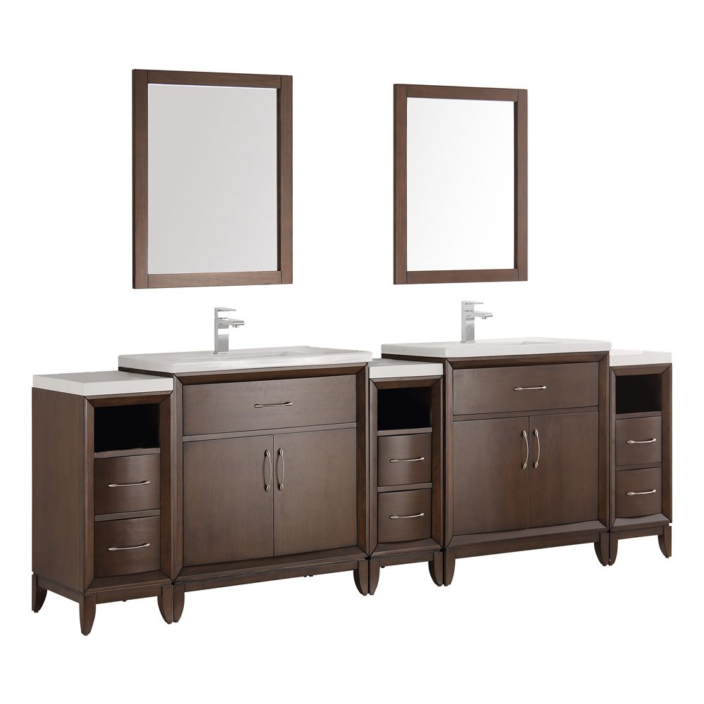 Fresca Cambridge 96 in. Vanity in Antique Coffee with Porcelain Vanity Tops in White and Mirrors