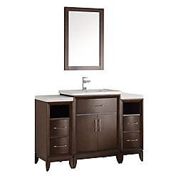 Fresca Cambridge 48 in. Vanity in Antique Coffee with Porcelain Vanity Top in White and Mirror
