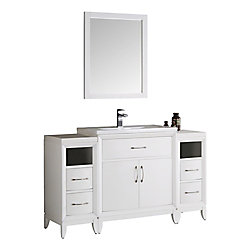Fresca Cambridge 54 in. Vanity in White with Porcelain Vanity Top in White and Mirror