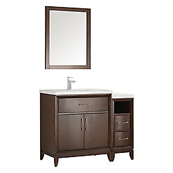 Fresca Cambridge 42 in. Vanity in Antique Coffee with Porcelain Vanity Top in White and Mirror