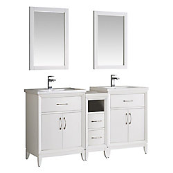 Fresca Cambridge 60 in. Vanity in White with Porcelain Vanity Tops in White and Mirrors