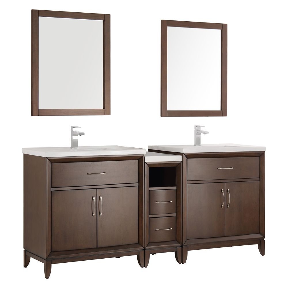 Fresca Cambridge 72 in. Vanity in Antique Coffee with Porcelain Vanity Tops in White and Mirrors