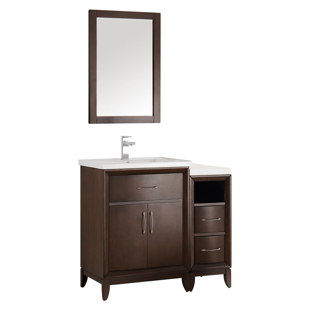 Fresca Cambridge 36 in. Vanity in Antique Coffee with Porcelain Vanity Top in White and Mirror
