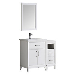 Fresca Cambridge 36 in. Vanity in White with Porcelain Vanity Top in White and Mirror