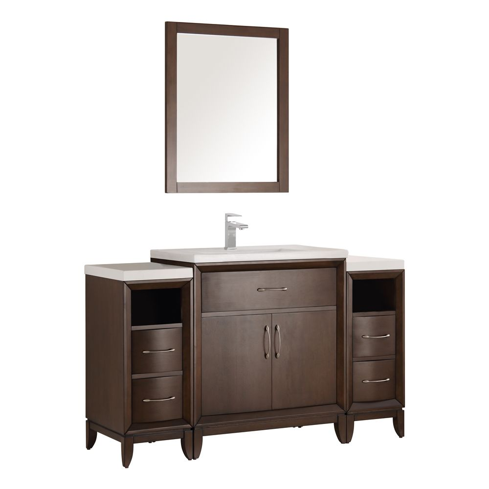 Fresca Cambridge 54 in. Vanity in Antique Coffee with Porcelain Vanity Top in White and Mirror