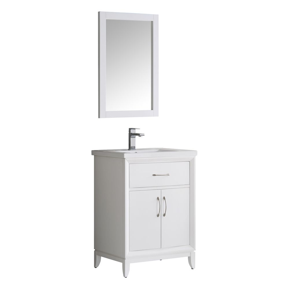 Fresca Cambridge 24 in. Vanity in White with Porcelain Vanity Top in White and Mirror
