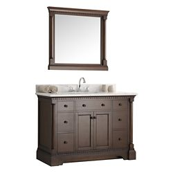 Fresca Kingston 48 in. Vanity in Antique Coffee with Marble Vanity Top in Carrera White and Mirror