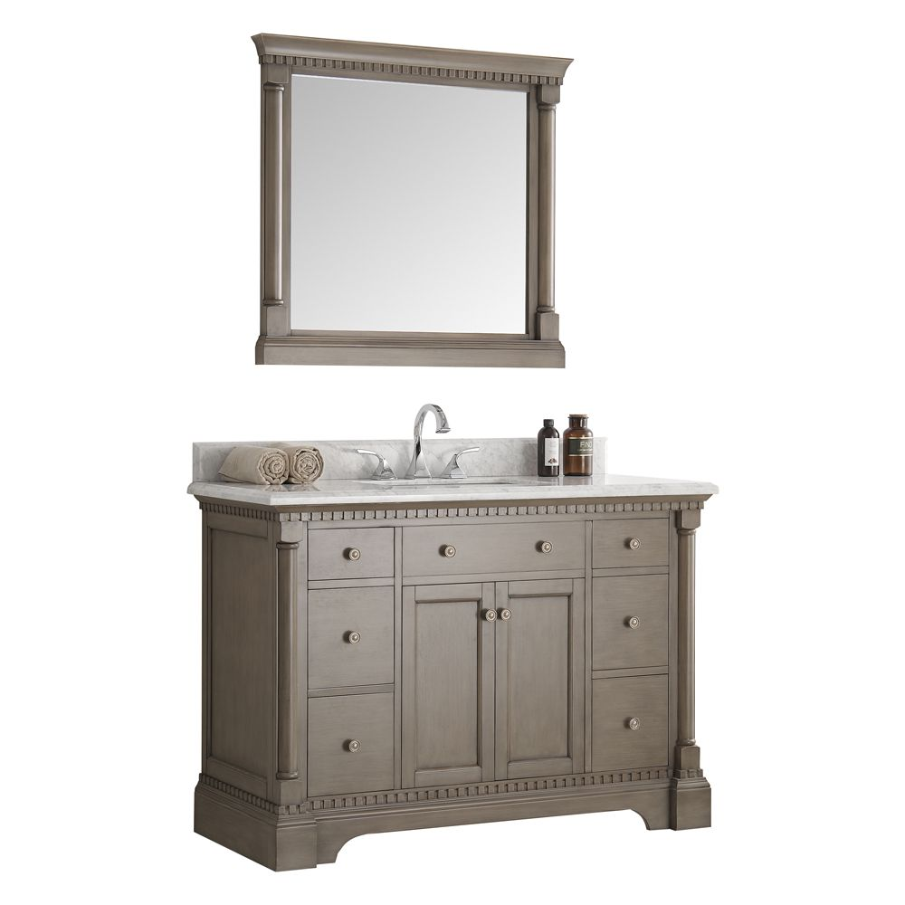 Fresca Kingston 48 in. Vanity in Antique Silver with Marble Vanity Top in Carrera White and Mirror