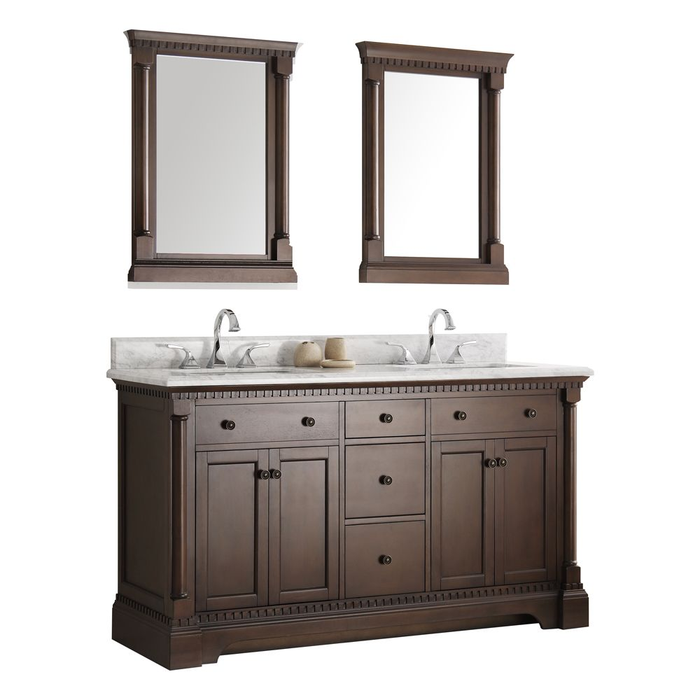 Fresca Kingston 60 in. Vanity in Antique Coffee with Marble Vanity Top in Carrera White and Mirrors