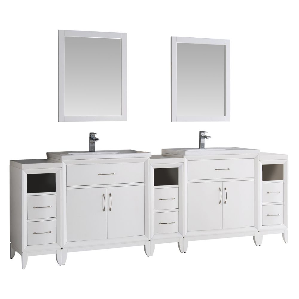 Fresca Cambridge 96 in. Vanity in White with Porcelain Vanity Tops in White and Mirrors