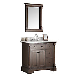 Fresca Kingston 36 in. Vanity in Antique Coffee with Marble Vanity Top in Carrera White and Mirror