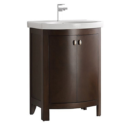 Niagara 24 in. Bathroom Vanity in Antique Coffee with Vanity Top in White