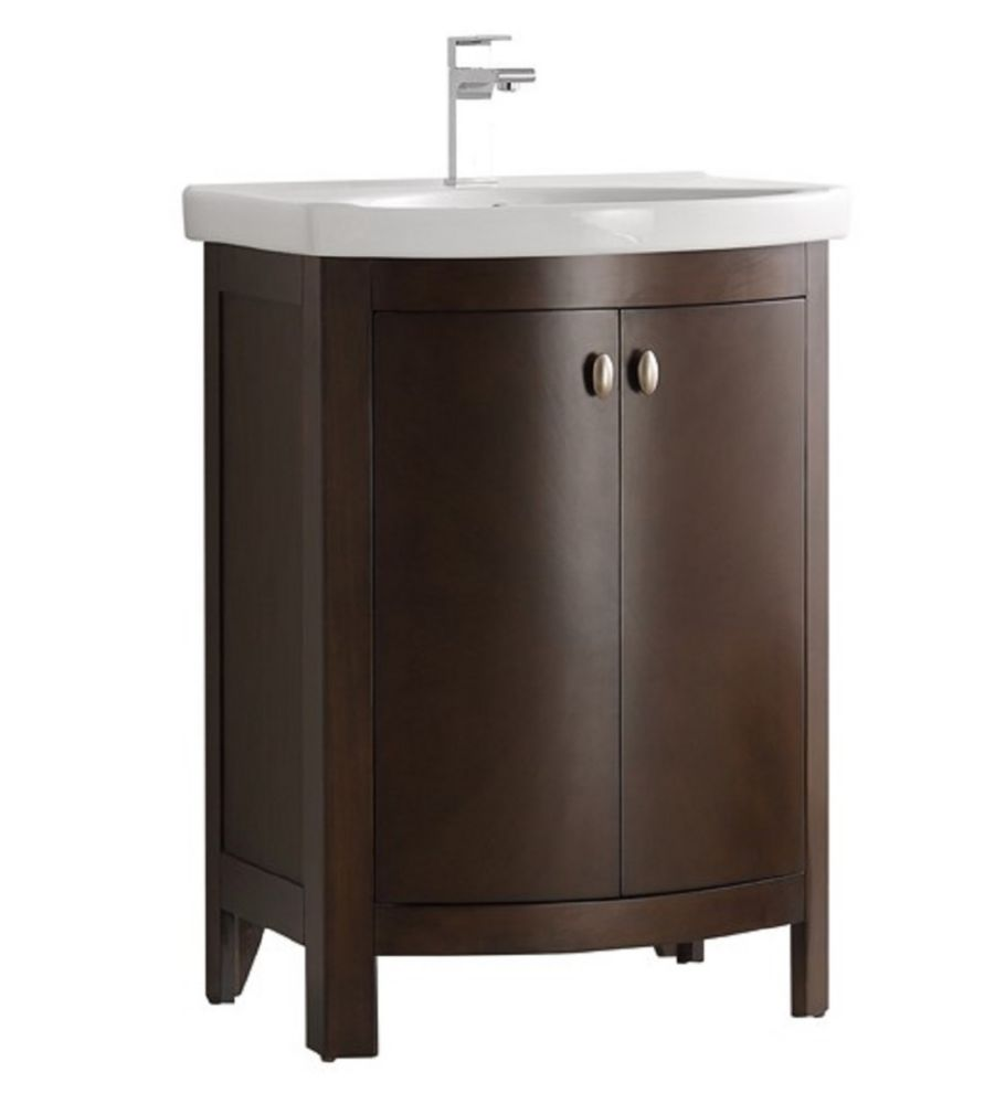 Fresca Niagara 24 in. Bathroom Vanity in Antique Coffee with Vanity Top in White