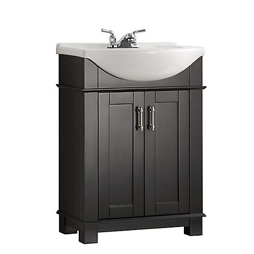 Hudson 24-inch W Traditional Bathroom Vanity in Black with Ceramic Vanity Top in White with Basin