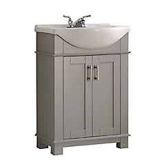 Hudson 24-inch W Traditional Bathroom Vanity in Grey with Ceramic Vanity Top in White with Basin