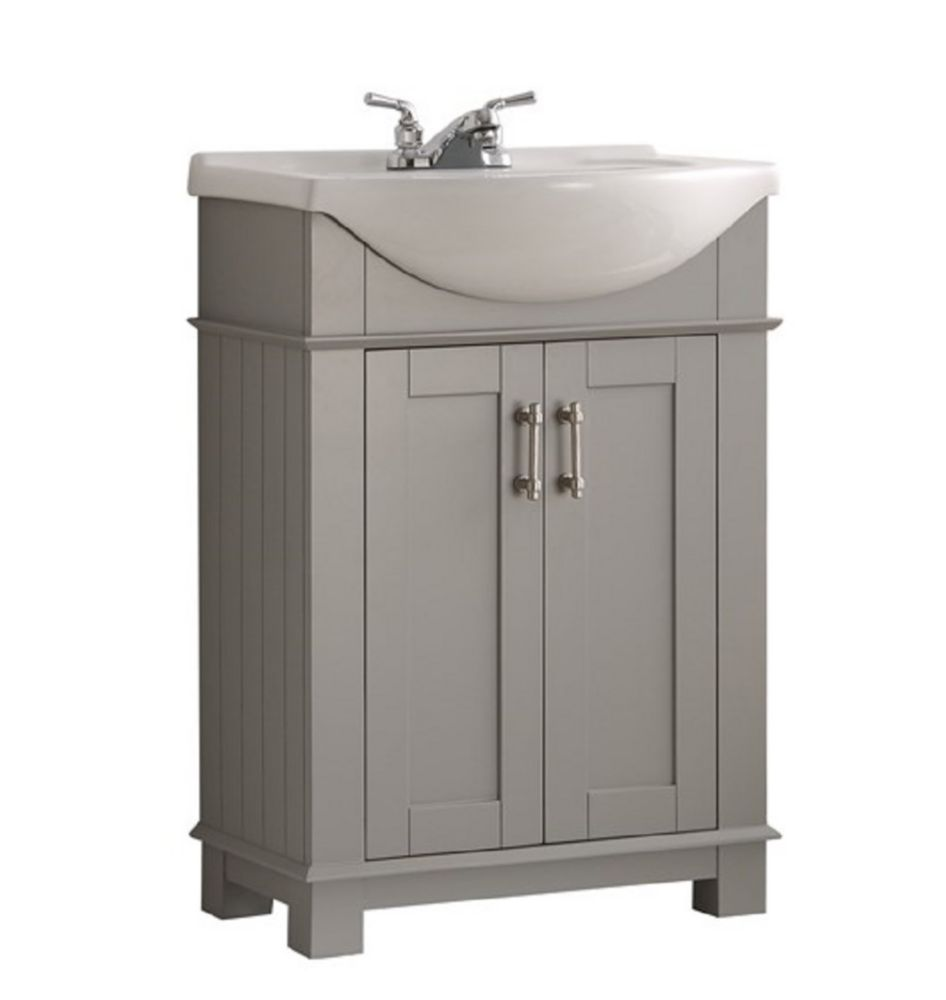 Fresca Hudson 24-inch W Traditional Bathroom Vanity in Grey with Ceramic Vanity Top in White with Basin