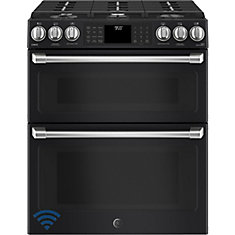 30-inch 6.7 cu. ft. Double Oven Electric Range with Self-Cleaning Convection Oven in Black