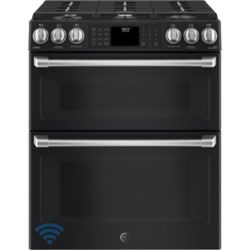 Café 30-inch 6.7 cu. ft. Double Oven Gas Range with Self-Cleaning Convection Oven in Black