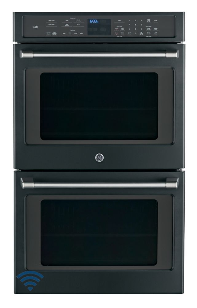 Café Black Slate 10.0 cu ft Built-In Double wall oven, True European convection with direct air