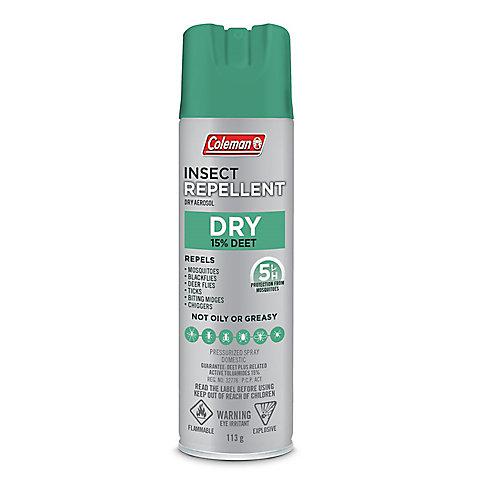 Chasse-moustiques sec en aérosol de 113 g, 15 % de DEET