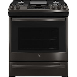 GE Slide-In Premium Black Stainless Steel Appearance 5.6 cu ft Convection Gas Range