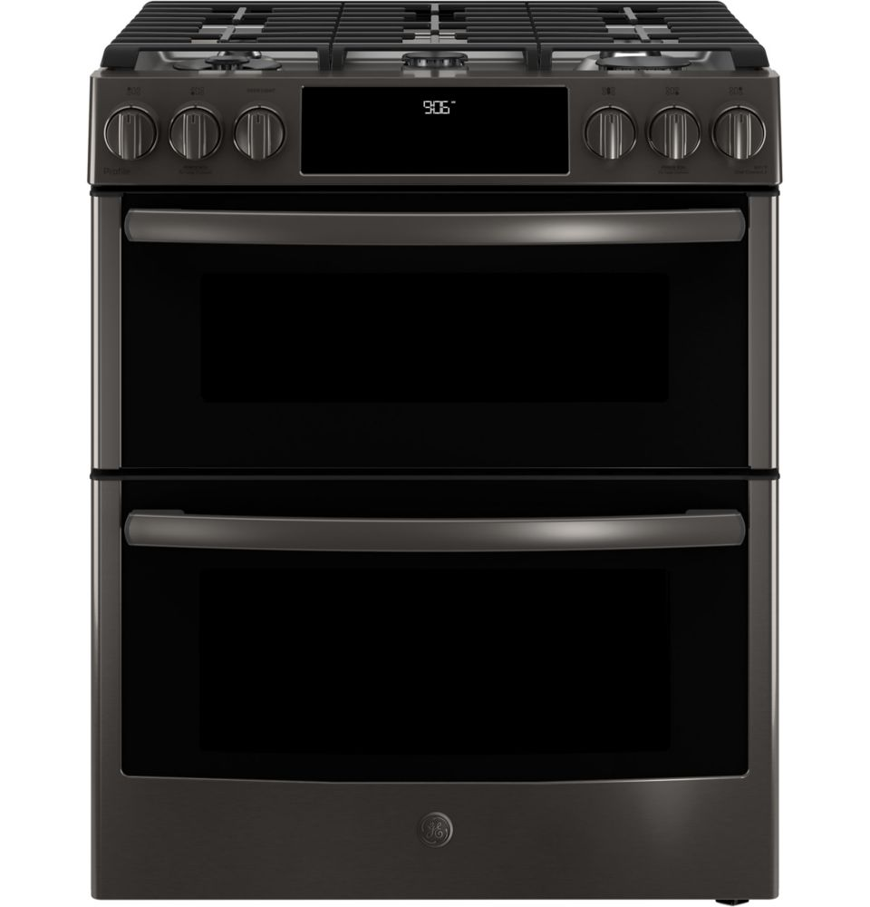 GE Profile Slide-In Premium Black Stainless Steel Appearance 6.7 CF Double Oven Convection Gas Range