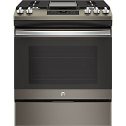 GE 30-inch 5.0 cu. ft. Single Oven Gas Range with Self-Cleaning Convection Oven in Slate