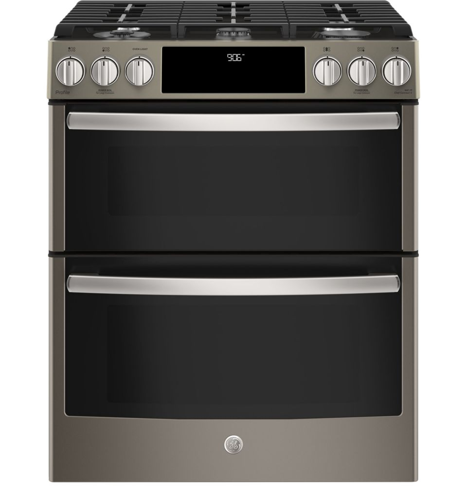 GE Profile Slide-In Premium Slate Appearance 6.7 CF Double Oven Convection Gas Range