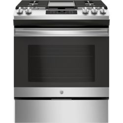 GE 30-inch 5.4 cu. ft. Single Oven Gas Range with Steam Clean in Stainless Steel