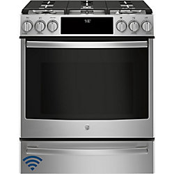 GE Profile 30-inch 5.6 cu. ft. Single Oven Gas Range with Self-Cleaning Convection Oven in Stainless Steel
