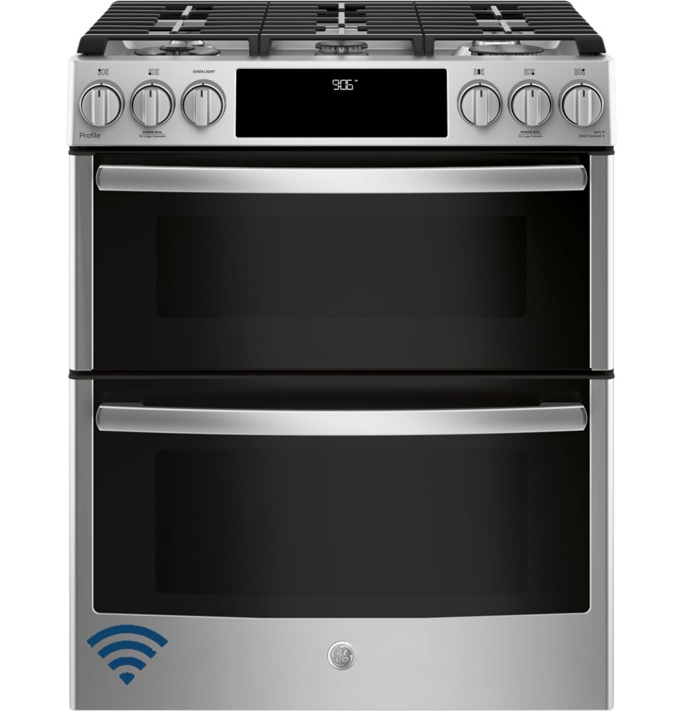 GE Profile 30-inch 6.7 cu. ft. Double Oven Gas Range with Self-Cleaning Convection Oven in Stainless Steel