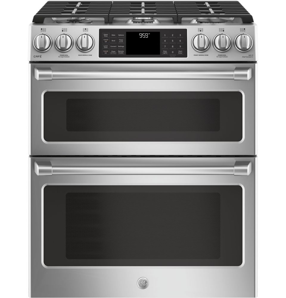 Café 30-inch 6.7 cu. ft. Double Oven Gas Range with Self-Cleaning Convection Oven in Stainless Steel