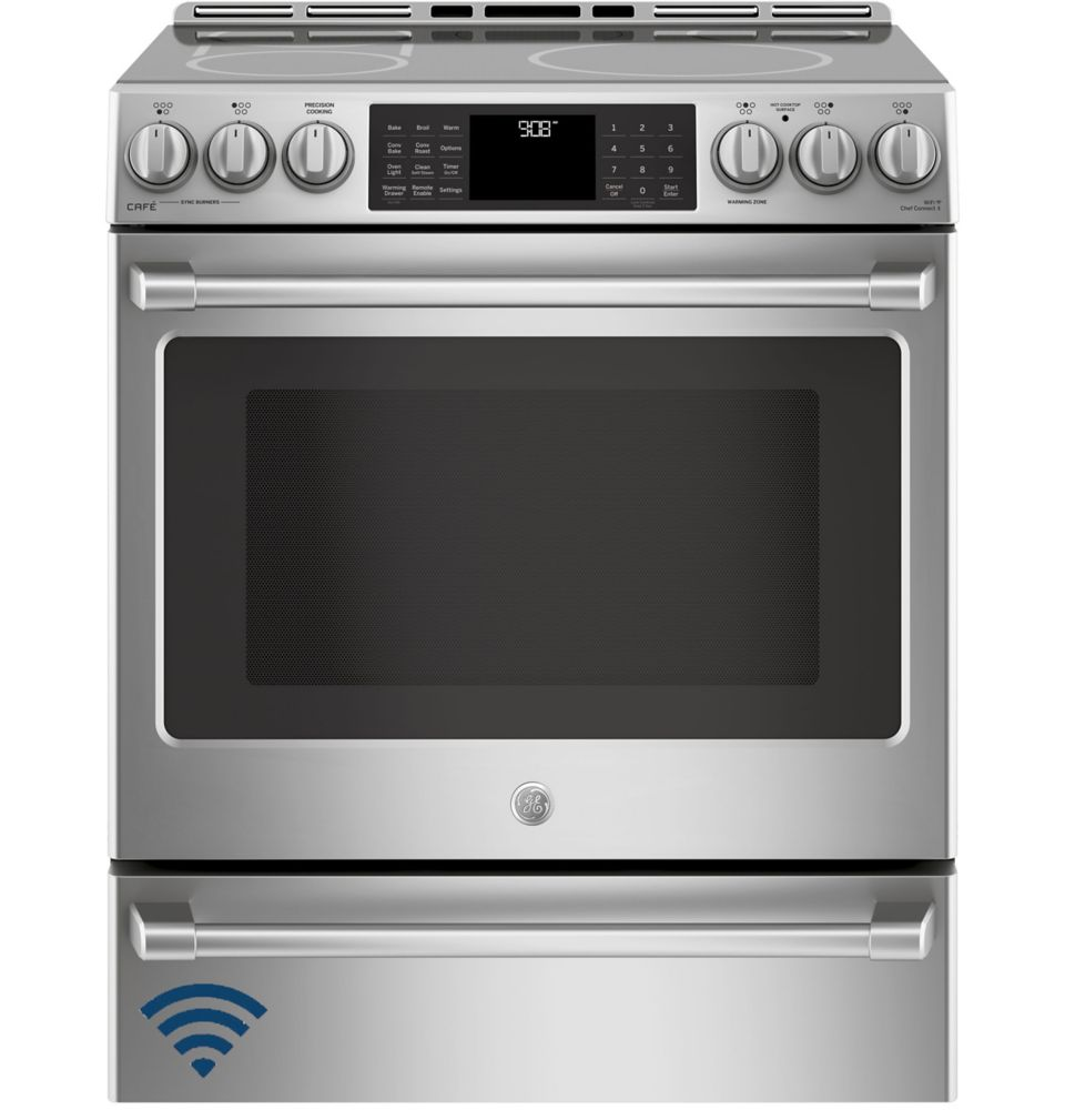 Café 30-inch 5.6 cu.ft. Single Oven Electric Range with Self-Cleaning Convection Oven  in Stainless Steel