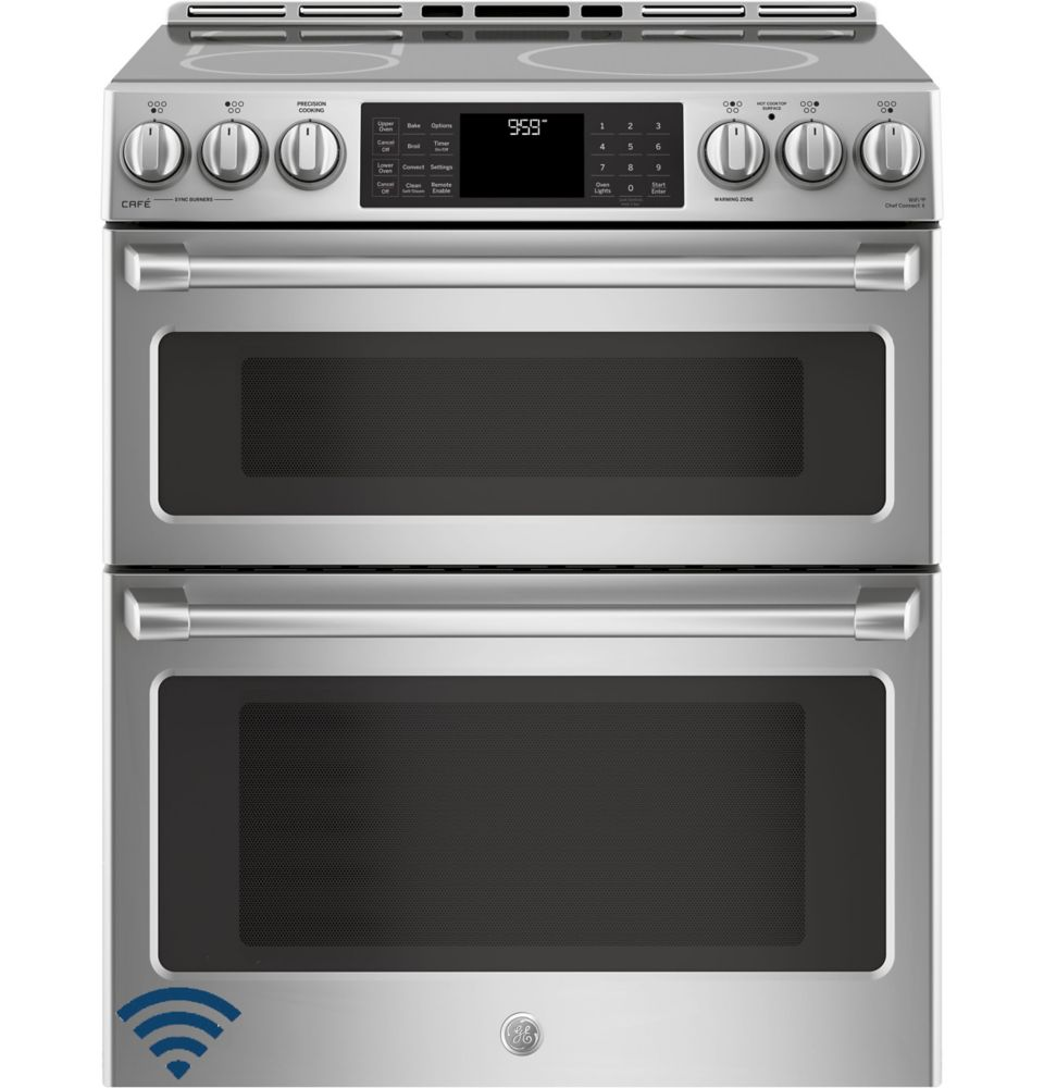 Café 30-inch 6.7 cu. ft. Double Oven Electric Induction Range with Self-Cleaning Convection Oven in Stainless Steel