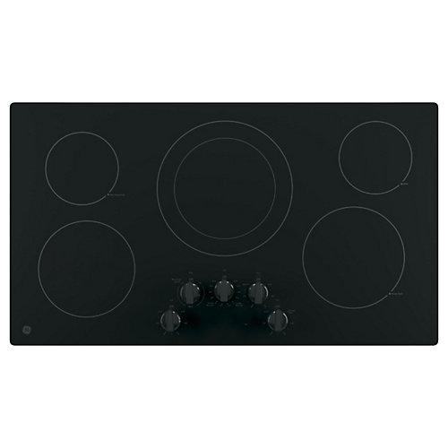 Bouton de commande intégré de 36 po W pour table de cuisson électrique avec 5 éléments en noir