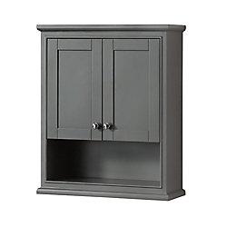 Wyndham Collection Deborah Bathroom Wall-Mounted Storage Cabinet in Dark Gray