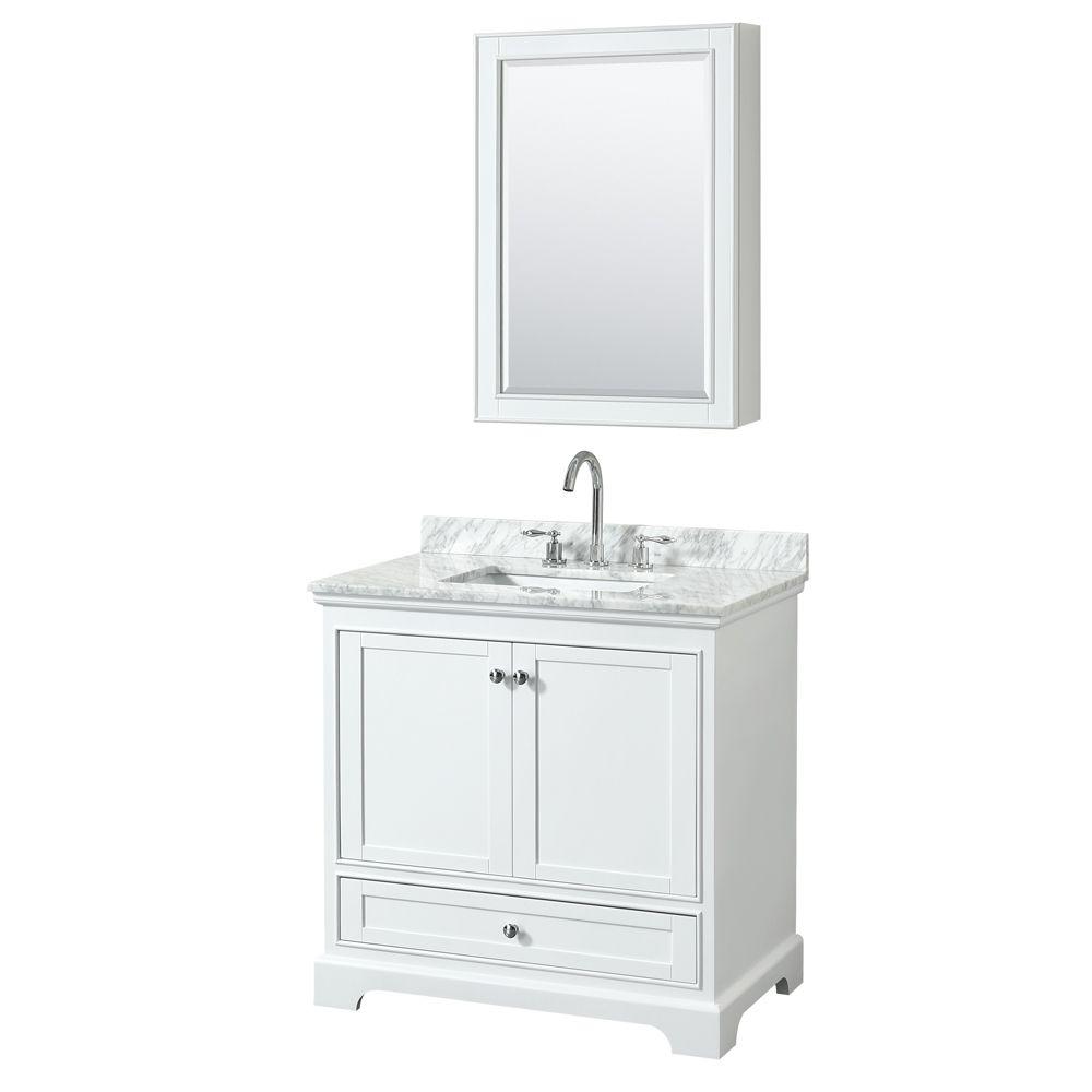 "Wyndham Collection Deborah 36"" Single Vanity in White, Carrara Marble Top, Undermount Sink, Medicine Cabinet"