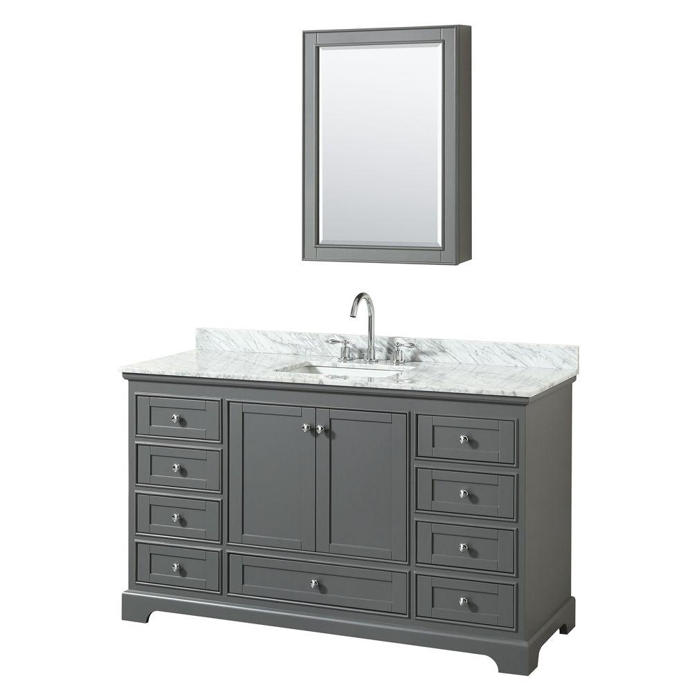 """Wyndham Collection Deborah 60"""" Single Vanity in Dark Gray, Carrara Marble Top, Undermount Sink, Medicine Cabinet"""