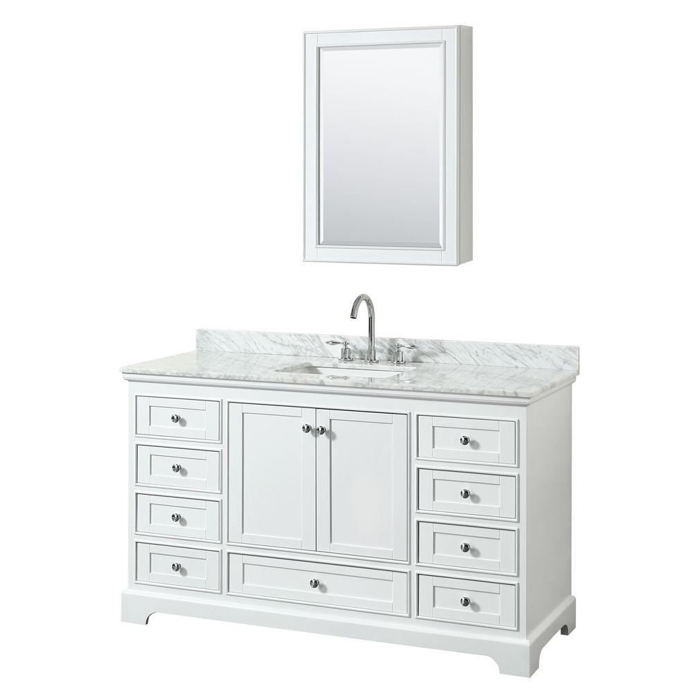 "Wyndham Collection Deborah 60"" Single Vanity in White, Carrara Marble Top, Undermount Sink, Medicine Cabinet"