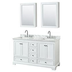 "Wyndham Collection Deborah 60"" Double Vanity in White, Carrara Marble Top, Undermount Sinks, Medicine Cabinets"