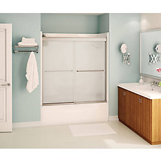 Tonik 59 inch x 57 inch Frameless Sliding Tub Door in Brushed Nickel with Mistelite Glass