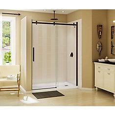 Halo 59 inch x 78 3/4 inch Frameless Sliding Shower Door in Dark Bronze