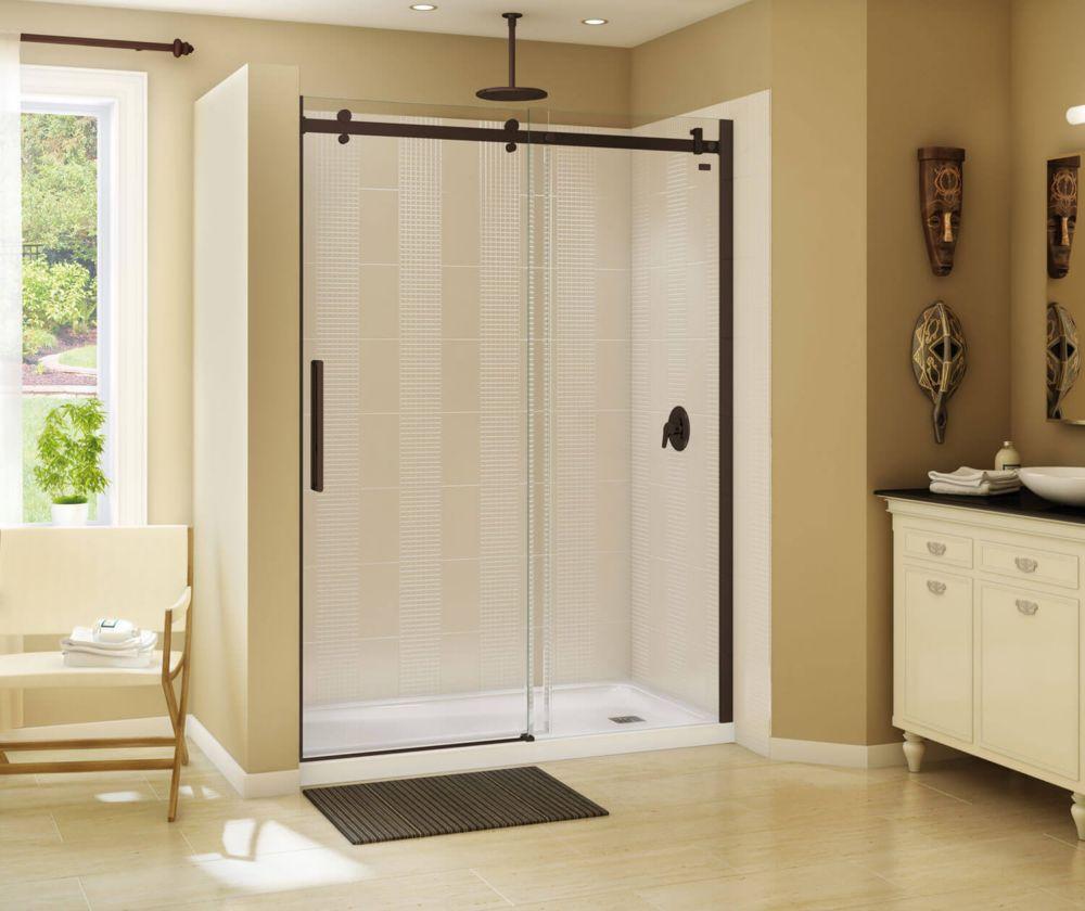 MAAX Halo 59 inch x 78 3/4 inch Frameless Sliding Shower Door in Dark Bronze