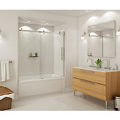 Halo 59 inch x 59 inch Frameless Sliding Tub Door in Brushed Nickel