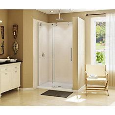 Halo 47 inch x 78 3/4 inch Frameless Sliding Shower Door in Brushed Nickel