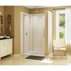 MAAX Halo 47 inch x 78 3/4 inch Frameless Sliding Shower Door in Brushed Nickel