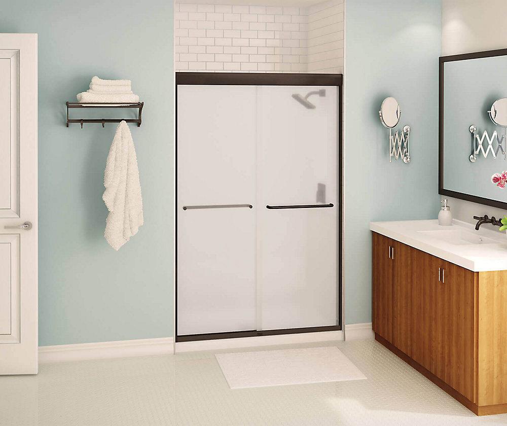 Tonik 47 inch x 71 inch Frameless Sliding Shower Door in Dark Bronze with Mistelite Glass