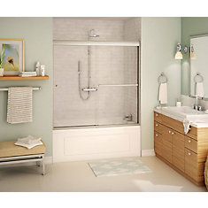 Tonik 59 inch x 57 inch Frameless Sliding Tub Door in Brushed Nickel with Soft Close